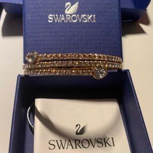 Swarovski twist bangle bracelet, rose gold.